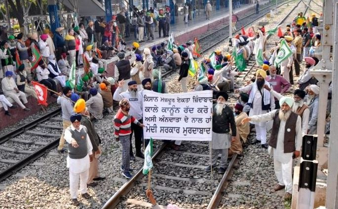 Train services halted as farmers squat on tracks for nationwide 'rail roko' protest