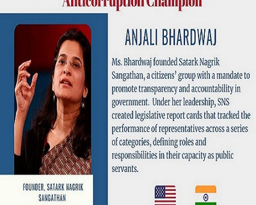 Indian activist among 12 anti-corruption champions awarded by US
