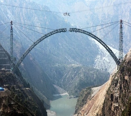 World's highest rail bridge's arch in J&K nears completion; Goyal shares pic