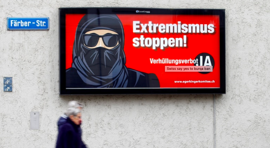 Switzerland voters support ban on 'niqab' and 'burqa' in public places