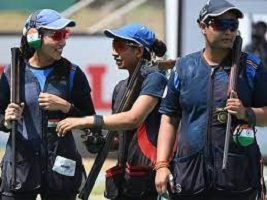 Shooting World Cup: Indian women win team gold medal in trap event
