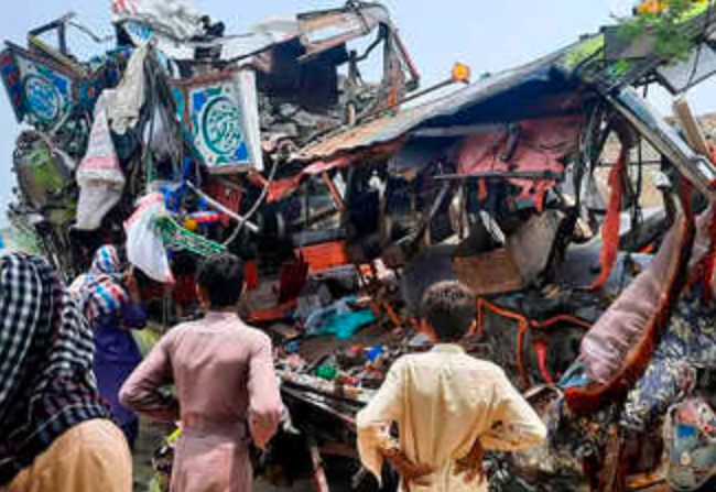 Bus crash in Pakistan kills 33, injures 40 as it rams into a container truck