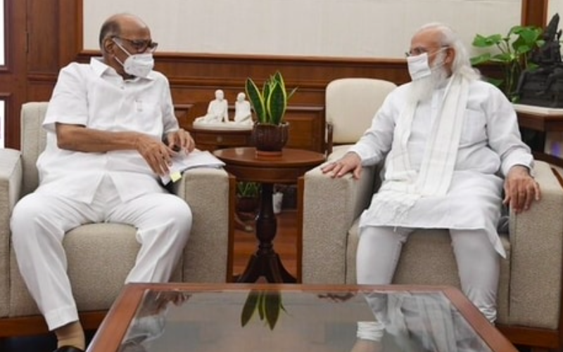 NCP president Sharad Pawar meets PM Modi in Delhi for nearly an hour