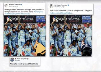 You can lick what I cropped: Harbhajan astroll accuses him of cropping MSD in T20 WC pic